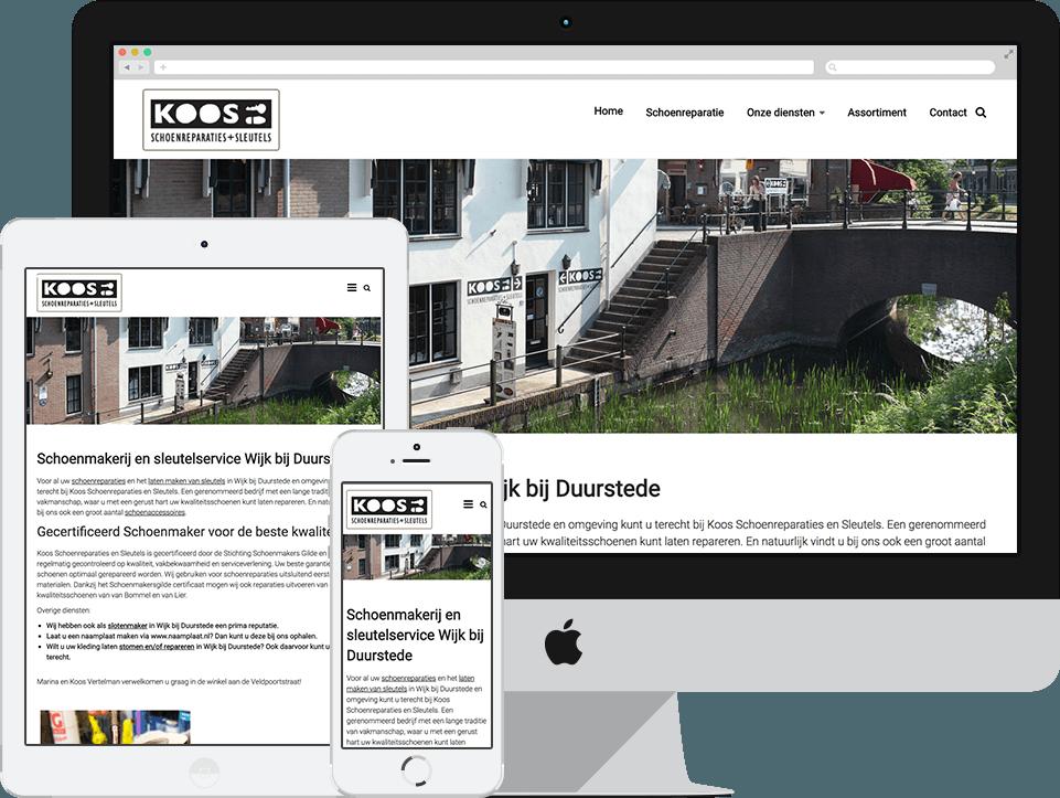 Website voorbeeld schoenmakerij koos